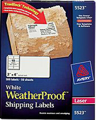 "Avery White WeatherProof Labels for Laser Printers 5523, 2"" x 4"", Box of 500"