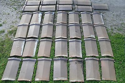"""Parapet Wall Clay Tile Cap Coping Brick Roof Vtg Archetictural Salvage 28+ 13""""wd"""