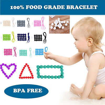 Long Baby Silicone Teething Necklace BPA Free Nursing Teether Round Beads Chain