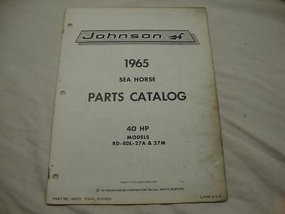 Johnson outboard parts catalog manual 1965 Sea Horse 40 HP RD RDL 27A 27M 380577