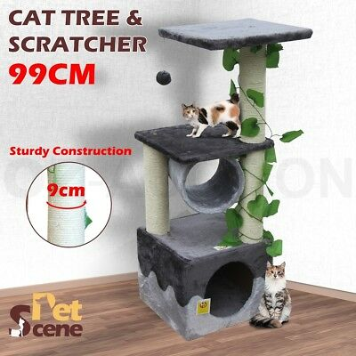 99cm Cat Scratching Post Tree Gym House Scratcher Pole Furniture Toy Small Black