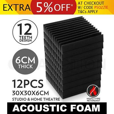 12 x Studio Acoustic Foam Panel Tile Sound Absorption Treatment Proofing Wedge