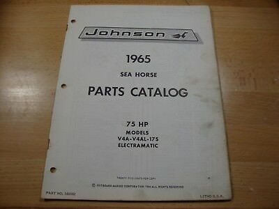 Johnson outboard parts catalog manual 1965 Sea Horse 75 HP V4A V4AL 17S 380582
