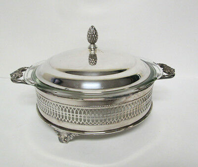 Vtg Sheffield Silver Co. Glass Bowl with Pine Cone Lid & Footed Tray Holder Set