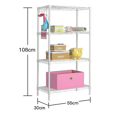 4 Tier Shelf Adjustable Steel Metal Wire Shelving Rack  Commercial Shelf Black