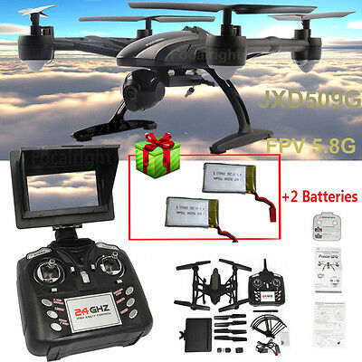 JXD 509G RC Drone Quadcopter W/ Monitor Camera 5.8G FPV Altitude Hold+2x Battery