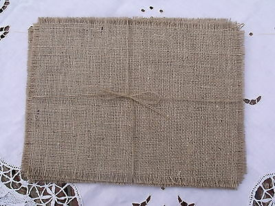 Shabby Chic, Vintage,  Hessian Party/Wedding/Christmas Table Mats SET OF 10
