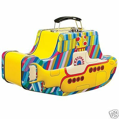 The Beatles Yellow Submarine Shaped Embossed Tin Tote Lunch Box (Official)