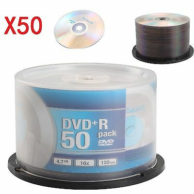 NEW Pack 50 Blank DVD+R 16x Speed 4.7GB 120 Mins Discs Recordable CD DVDS Discs