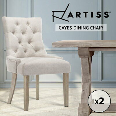 2x CAYES Dining Chair Linen Fabric French Provincial Wood Retro Modern Kitchen