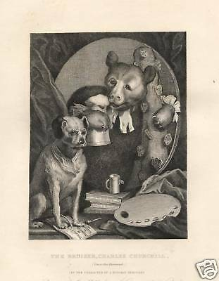 W. HOGARTH = 1840 = THE BRUISER = Antica Stampa = Old ENGRAVING