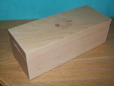 LARGE JOINTED BEECH WINE WHISKY BOTTLE BOX 15 inches long WOODEN WOOD SPRUNG LID