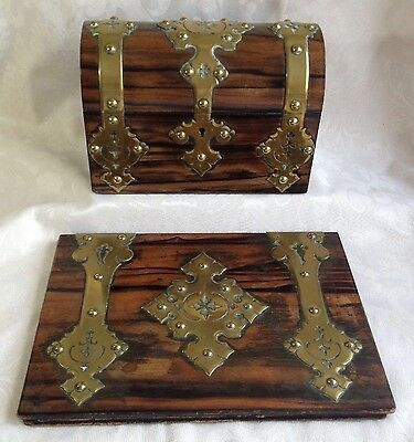 Victorian Coromandel Wood Brass Domed Stationery Box & Blotter Letter Writing