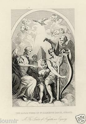 W. HOGARTH = 1840 = PALA D'ALTARE = Antica Stampa = Old ENGRAVING