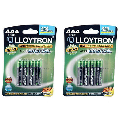 8 x Lloytron AAA HR03 NiMH Rechargeable Batteries 550mAh DECT phone etc. B014