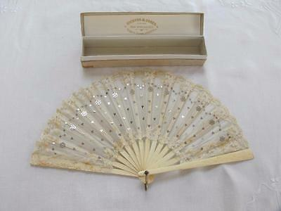 ANTIQUE VICTORIAN CARVED BOVINE BONE & SPANGLED GAUZE & LACE FAN & BOX c1890