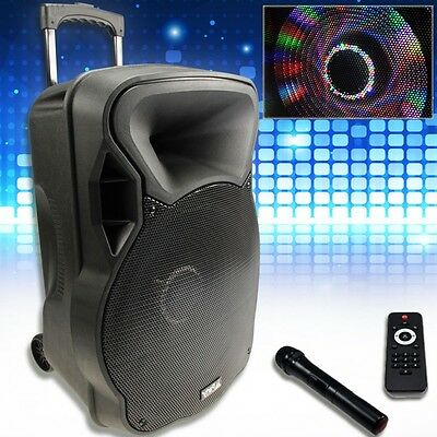 Mobile Karaoke Musik-Anlage Akku Bluetooth USB SD MP3 Fernbedienung Funk Mikro