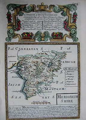 MERIONETHSHIRE   WALES  BY EMANUEL BOWEN GENUINE ANTIQUE MAP c1720