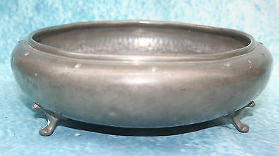 Art Deco Antique English My Lady Hand Hammered Pewter Bowl on 3 Pad Feet 1920s