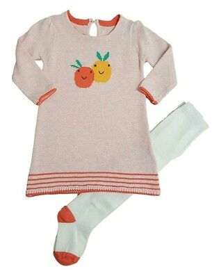 Girls Baby Dress and Tights Set Outfit 2 Two Piece Knitted NB-3y Ex M+S • EUR 6,55