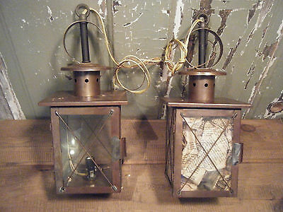 Pair Vintage Solid Brass Light Fixture Hanging Glass Hand Soldered Hinged Door 2