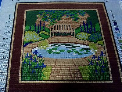 Ehrman Completed Needlepoint Tapestry 'Lily Pond' Panel Cushion Front