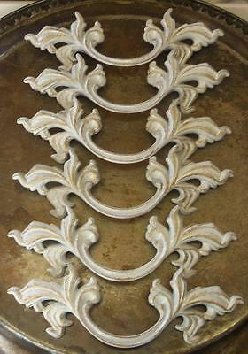 "Lot of 6 French Provincial White Gold Pulls 3"" Centers FREE Shipping"