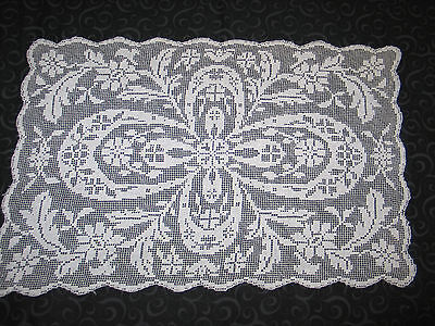 Stunning Antique Vintage Hand Made Lace Placemats~6~Darn Net Lace