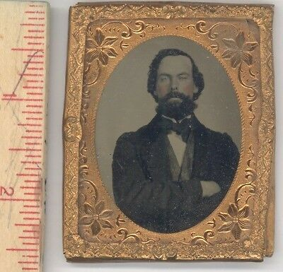 ambrotype photo gold frame handsome young man antique 1850