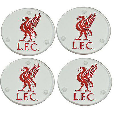 Liverpool Football Club Liver Bird Set Of 4 Glass Drink Coasters - New Official