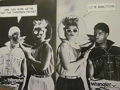 The Thompson Twins, Two Page Vintage Ad, Wrangler Jeans