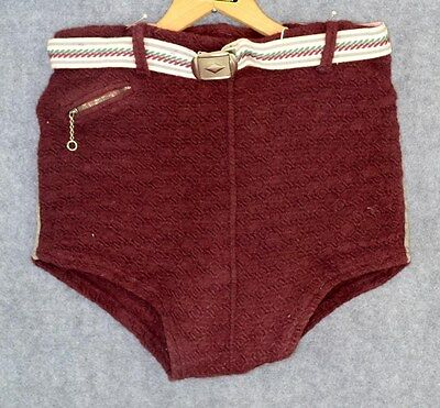 mens bathing swim suit trunks 1930-40 wool knit belted WWII antique original