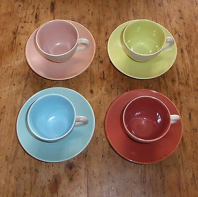 Poole TWINTONE 4 x Coffee Cups & Saucers