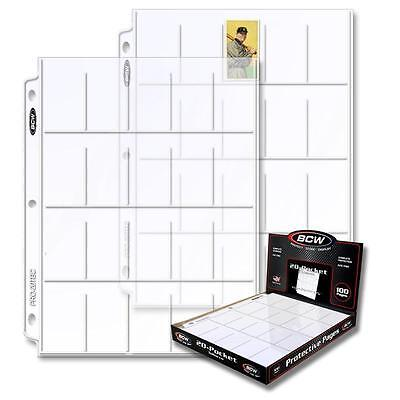 1 Box of 100 BCW 20 Pocket Tobacco Card Storage Pages Sheets Holders