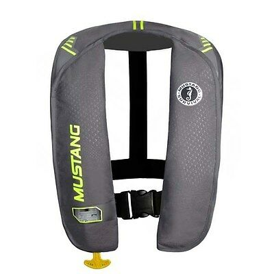 Mustang MIT 100 Manual Activation Inflatable Life Vest - Grey/Yellow Green MD201