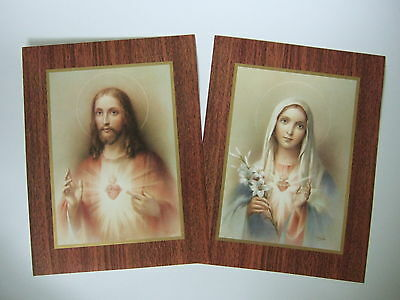 """Catholic Print Picture Set SACRED HEART of JESUS and MARY 7x9"""""""