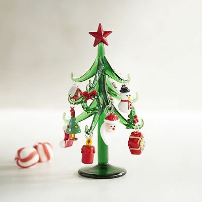 Blown Glass Mini Christmas Tree with Ornaments
