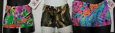 NWT Print spandex Booty shorts child ladies Dance Cheer Acro Gymnastics 3 prints