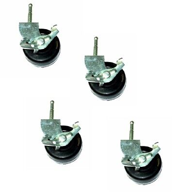 """Set of 4 Swivel WGS Stem Casters With 2""""  Hard Rubber Wheel and Side Lock Brake"""