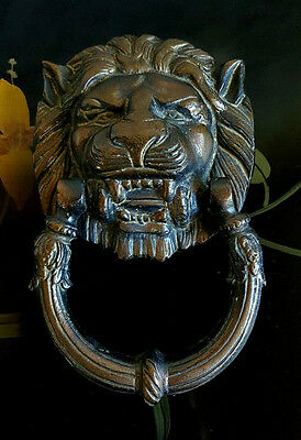 Vtg Lion's Head Large Brass Door Knocker 7in L x 4.25in W
