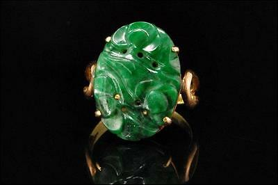 Antique Chinese Carved Deep Green Jadeite Jade 14K Gold Ring