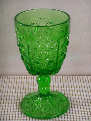 """LG WRIGHT 6 1/8"""" GREEN DAISY & BUTTON WATER GOBLET Glass Stemware"""