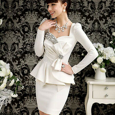 Women's Bridal Bridemaid Crystal Reinstoned Ruched Peplum Pencil Evening Dress