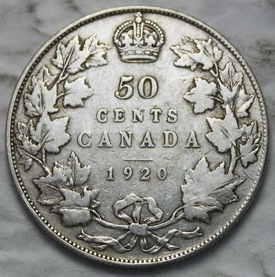Canada 1920 Silver 50 Cents, Old Date KGV