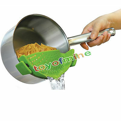 Popular Pan Strainer SNAP'N STRAIN Clip-on Silicone Pasta for Draining Liquid HY