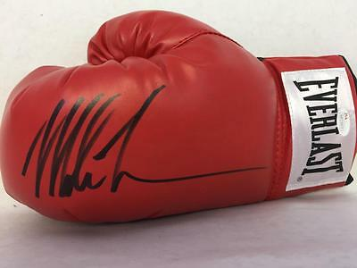 One Iron Mike Tyson Signed Everlast Left Red Glove Jsa Witnessed Coa Autograph