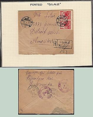 Lithuania, 1932, cover, Silale to Detroit. kn931