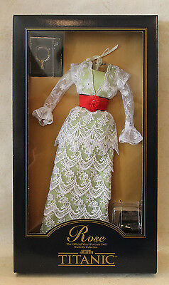 Franklin Mint Rose Titanic Tea Green Lace Dress doll ensemble NRFB OOP outfit