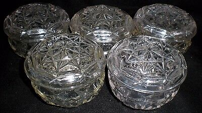 5 X Vintage Glass Lidded Pots - Christmas Table  (55)