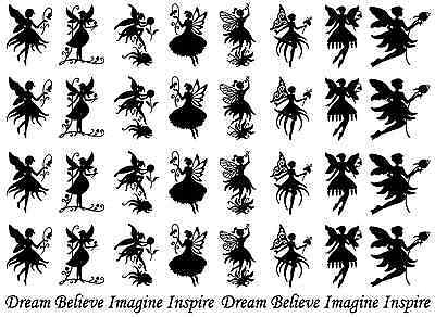 "Flower Fairies Black or White  5"" X 7"" Card Fused Glass Decals"